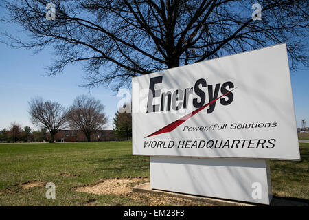 A logo sign outside the headquarters of Enersys in Reading, Pennsylvania. - Stock Photo