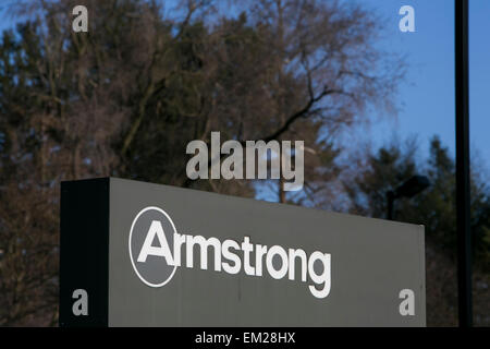 A logo sign outside the headquarters of Armstrong World Industries, Inc., in Lancaster, Pennsylvania. - Stock Photo