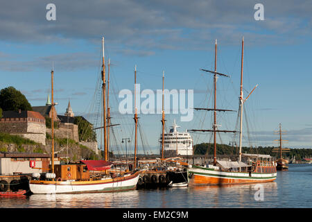 Boats And A Ship In The Harbour Of Oslofjord; Oslo Norway - Stock Photo