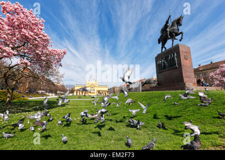 Zagreb,The king Tomislav statue and art pavilion in the spring. - Stock Photo