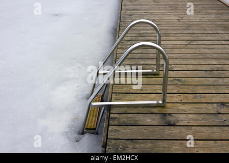 hand-rails leading to frozen lake, Finland - Stock Photo