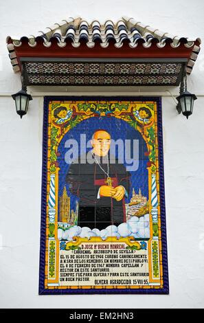 Memorial plaque to Archbishop Bueno Monreal at the Santuario de Nuestra Señora de los Remedios, Olvera, Andalucía, - Stock Photo