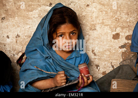 A girl in remote school of Kashmir region - Stock Photo