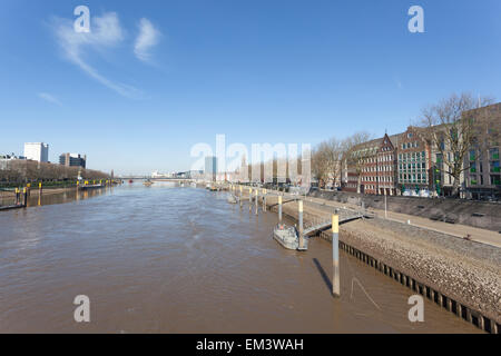 Weser river in the city of Bremen, Germany - Stock Photo