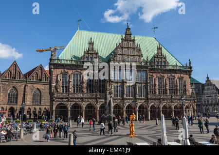 Historic city hall at the main square in Bremen, Germany