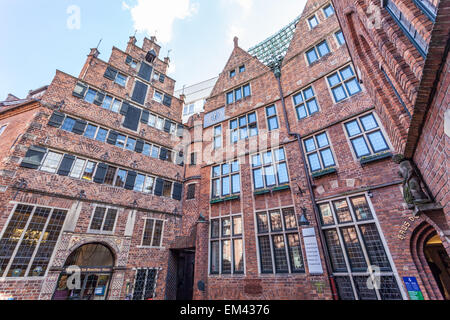 Brick buildings in historic Boettcher Street in the old town in Bremen, Germany - Stock Photo