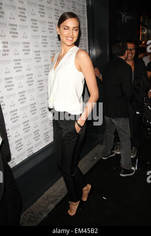 25.APRIL.2013. LONDON  IRINA SHAYK ATTENDS THE ELEVEN PARIS STORE LAUNCH PARTY ON CARNABY STREET IN SOHO, LONDON. - Stock Photo