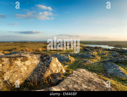 Looking out over the Cornish countryside from Tregarrick Tor on the edge of Bodmin Moor in Cornwall - Stock Photo
