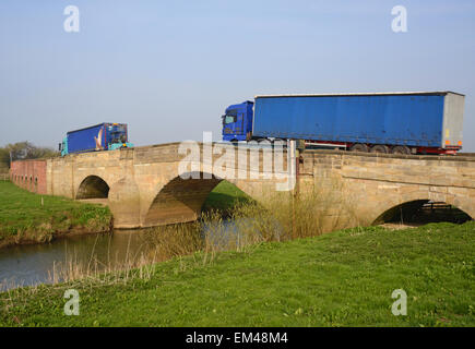 lorry crossing the river Derwent over grade II listed bridge Bubwith Yorkshire United Kingdom - Stock Photo