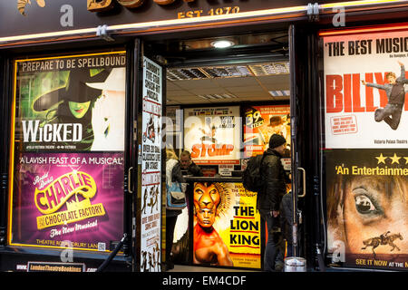 Discount theatre ticket box office in Leicester Square in London, UK - Stock Photo