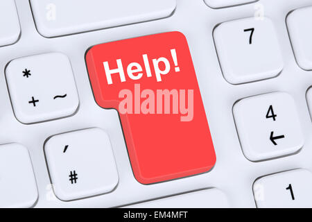 Help button for problem and solution with internet online computer - Stock Photo
