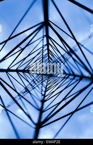 Tower with 380000 voltage in germany - Stock Photo