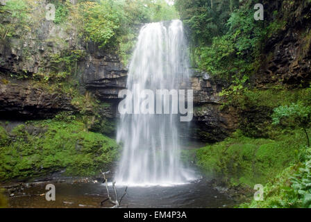 Waterfall Henrhyd Falls in Soutwales England Europe with longtime exposure - Stock Photo