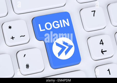Login button submit with password on computer - Stock Photo