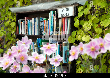 Second hand books in the gardens of  the Castle of Hay-on-Wye, Wales, UK Europe - Stock Photo