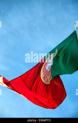 Portuguese Flag in Lisbon - Portugal - Stock Photo