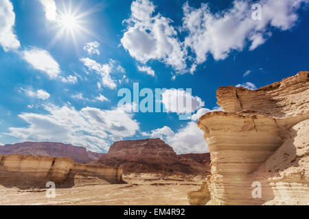 Ancient Fortification; Masada Southern District Israel - Stock Photo