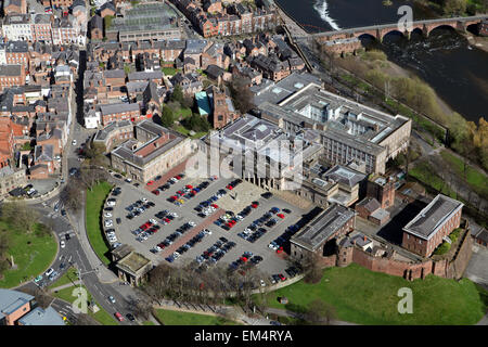 aerial view of Chester Crown Court in Chester city centre, Cheshire, UK
