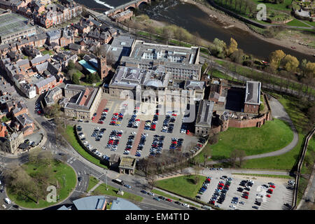 aerial view of Chester City centre, Cheshire, UK - Stock Photo