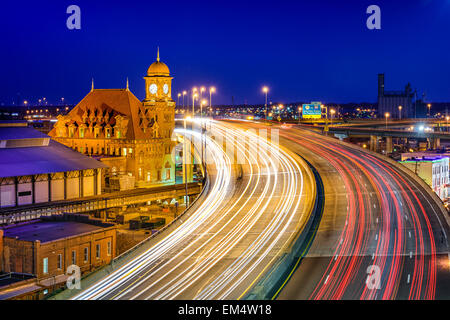 Richmond, Virgina, USA at historic Main Street Station and Interstate 95. - Stock Photo
