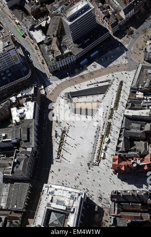 aerial view of Market Square, Nottingham city centre, UK - Stock Photo