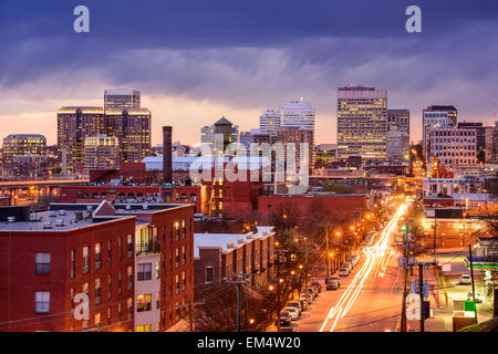 Richmond, Virginia, USA downtown cityscape over Main St. - Stock Photo