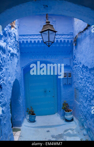 traditional blue house with blue door in the Medina of Chefchaouen (Chaouen), Rif Mountains,Morocco,Africa