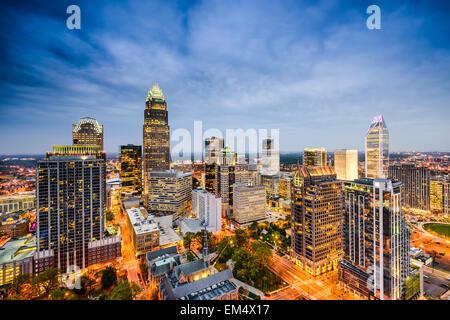 Charlotte, North Carolina, USA uptown skyline. - Stock Photo