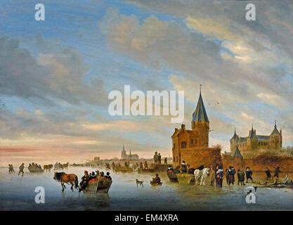 Winter Landscape with Distractions on the Ice  a Capriccio of Arnhem 1652 Salomon Jacobsz. van Ruysdael 1600-1670 - Stock Photo