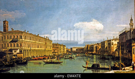 View of the Grand Canal ( Venice Italy ) by Giovanni Antonio Canal, il Canaletto 1697-1768  Italian - Stock Photo