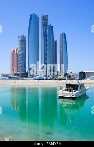Etihad towers in Abu Dhabi United Arab Emirates - Stock Photo
