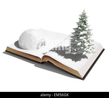 igloo on the open book - Stock Photo