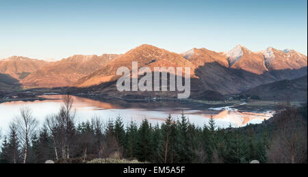 View over Loch Duich & the Five Sisters at Kintail in Scotland. - Stock Photo