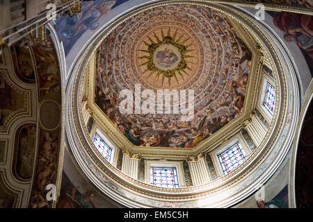 Italy, Emilia-Romagna, Ferrara, Fresco in domed cathedral interior with stained glass windows - Stock Photo
