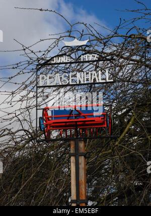 peasenhall village sign - Stock Photo