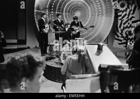 The Beatles on the set of 'Top Of the Pops', plugging their new single 'Paperback Writer'/ 'Rain', 16 June 1966. - Stock Photo