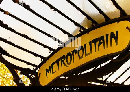 Entrance to the the Paris Métro. - Stock Photo