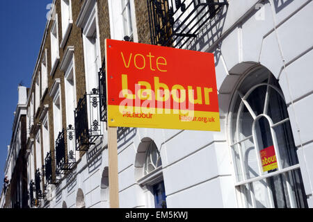 Labour Party sign outside Georgian terraced house in Islington square, London - Stock Photo