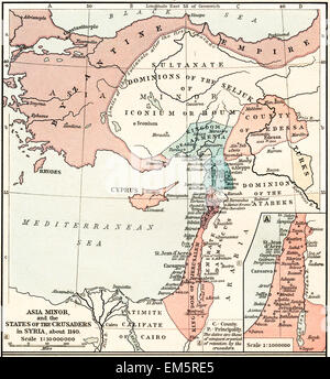 Map of Asia Minor and the Crusader states in Syria, c. 1140. - Stock Photo