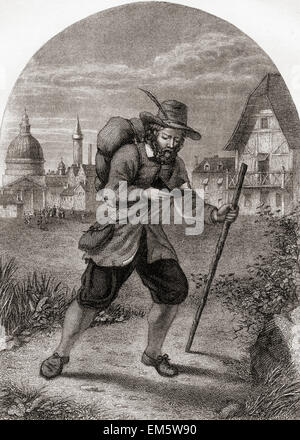 Christian Leaving the City of Destruction.  From The Pilgrim's Progress by John Bunyan. - Stock Photo