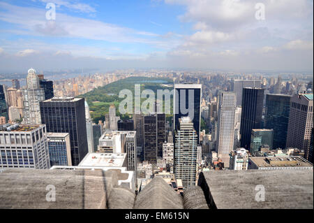 Central Park and mid town skyscrapers of New York, viewed from the Top of the Rock, Rockerfeller Center - Stock Photo