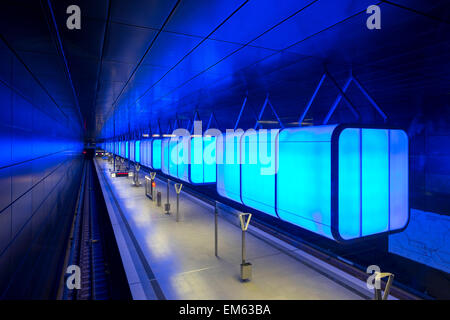 HafenCity Universität station on U4 U-Bahn line - Stock Photo