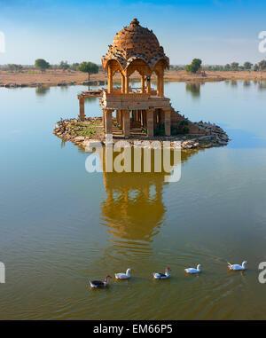 Gadi Sagar (Gadisar), Jaisalmer, Rajasthan, India, Asia - Stock Photo