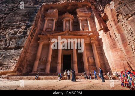 Jordan, Low angle view of El Khazneh; Petra - Stock Photo