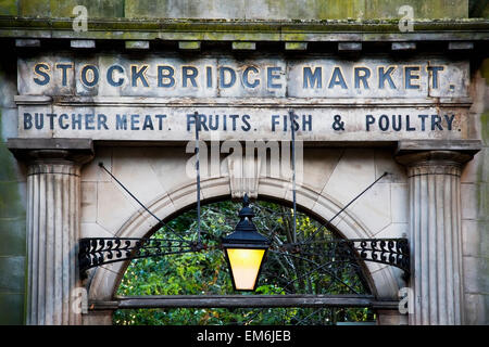 United Kingdom, Scotland, Entrance arch of stockbridge market; Edinburgh - Stock Photo