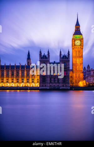 London is truly magical just after the sunset at the twilight hour. Its timeless architecture stands out with magical - Stock Photo