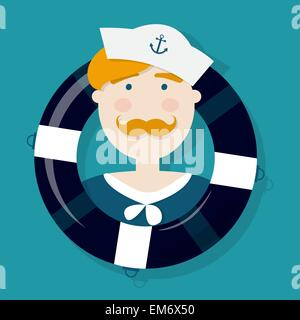 Cute ginger sailor cartoon character in a lifebuoy - Stock Photo