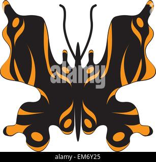 vector black butterfly tiger coloring on a white background - Stock Photo
