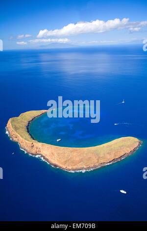 Hawaii, Maui, Molokini Crater, Aerial View. - Stock Photo