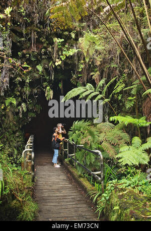 USA, Big Island. Hawaii Islands, Couple at entrance to Thurston Lava Tube; Hawaii Volcanoes National Park - Stock Photo